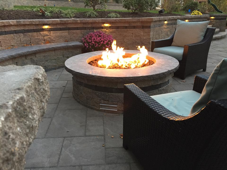 Retaining wall and fire pit in Weatogue CT